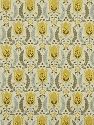 A Modern Floral Upholstery And Drapery Fabric In Gray Lemon Yellow Taupe And Ivory This