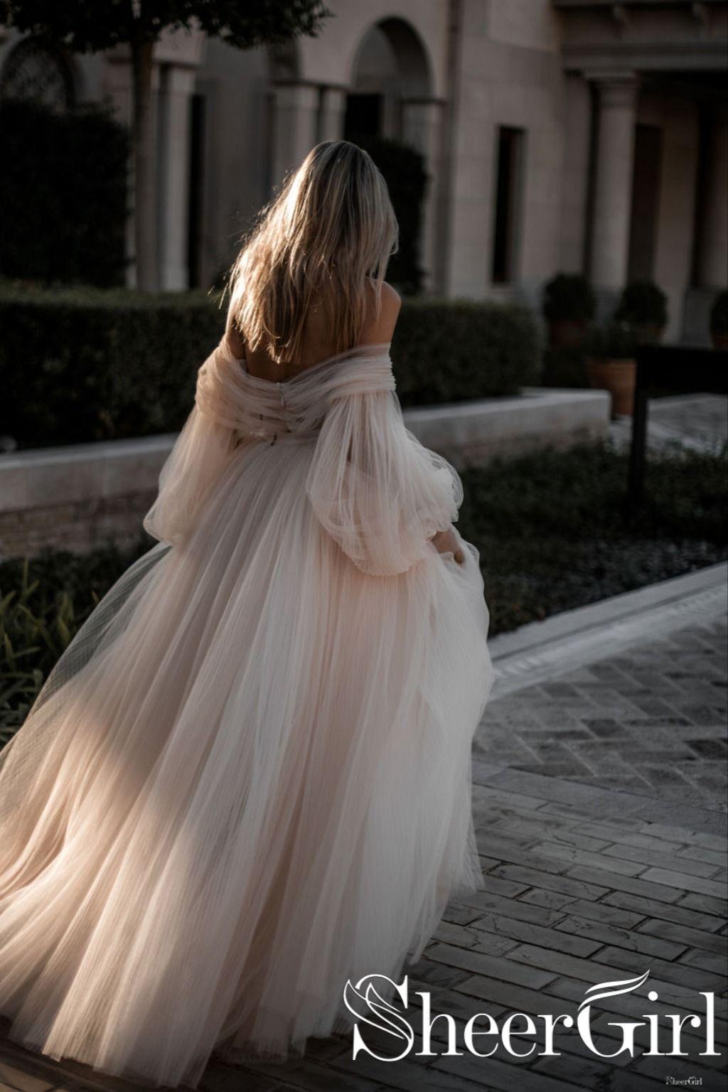 Lavish Beadings Bohemian Wedding Dress With Sleeves Pleated Tulle Detachable Skirt Wedding Gown Awd1630 Wedding Dresses Long Wedding Dresses Beautiful Wedding Dresses