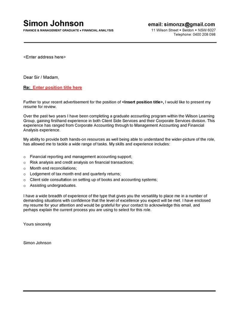 Finance Graduate Cover Letter for Application Letter Sample ...