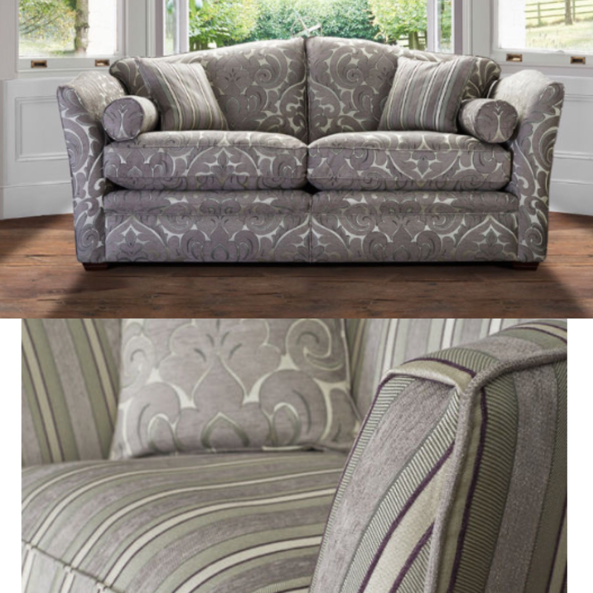 Parker knoll Burlington large floral 2 seater sofa and contrasting