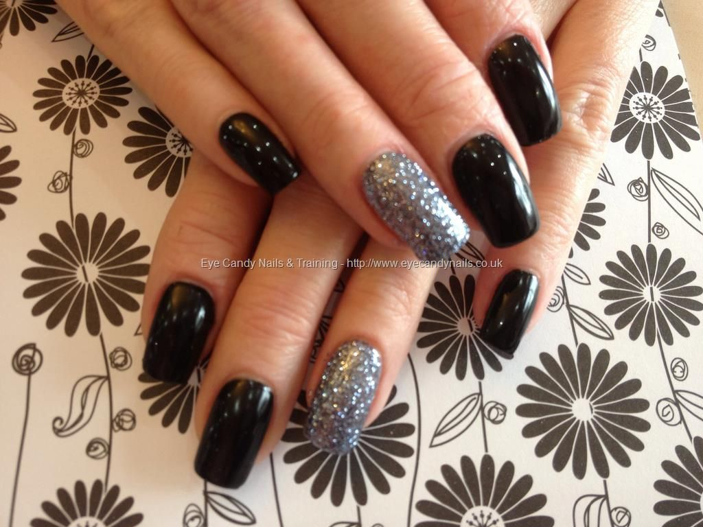 About baby boomer nail art tutorial by nded on pinterest nail art - Acrylic Nails With Black Gel Polish And Gun Metal Grey Glitter Gel On Ring Finger