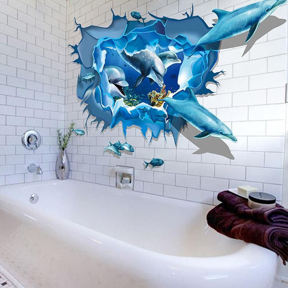 Wandtattoo Wandaufkleber 3d Effekt Delphine Kinderzimmer Badezimmer Dekoration 3d Sticker Wandtattoo Kinderzimmer Kunst