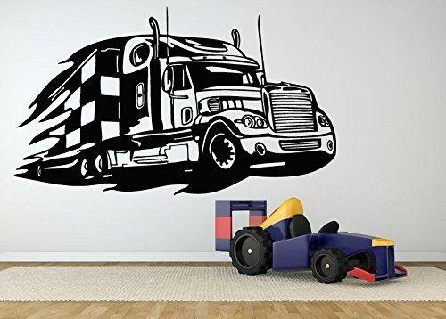 Amazon Com Wall Room Decor Art Vinyl Decal Sticker Semi Truck 18 Wheeler Large Big As496 Baby Vinyl Decal Stickers Vinyl Decals Walls Room