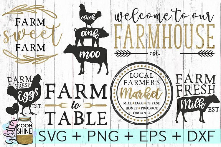 File for Silhouette Farm Food Bundle SVG Bundle File Svg Dxf Eps Png Food Clipart Instant Download Cut File