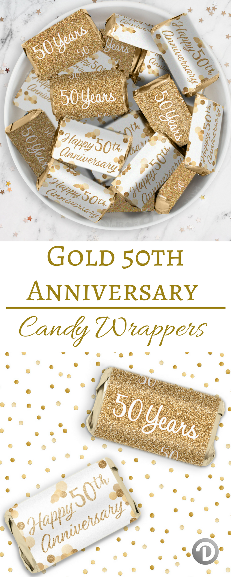 Gold 50th Anniversary Mini Candy Bar Stickers - 45 Count