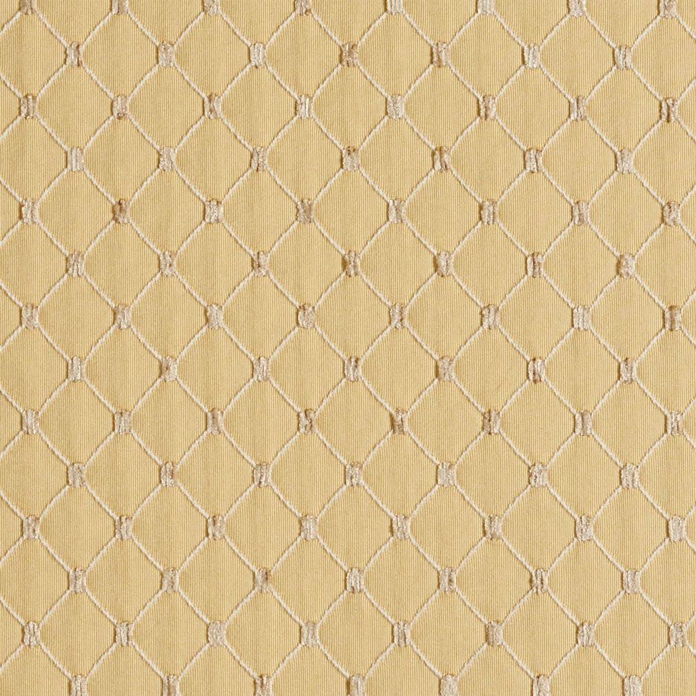 Flax Beige And Gold Diamond Mesh Pattern Chenille Upholstery