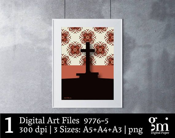 Digital Cross, Cross Art, Digital Art Print, Digital Art Download, Printable Art, Digital Print, Cross Art Print, Cross Home Decor,