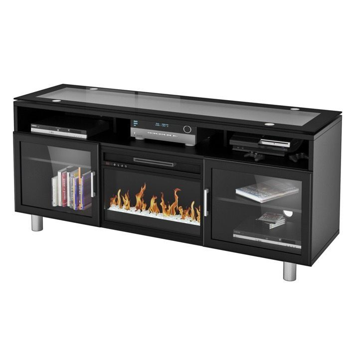72 Inch Black Fireplace Media Tv Stand Entertainment Centers