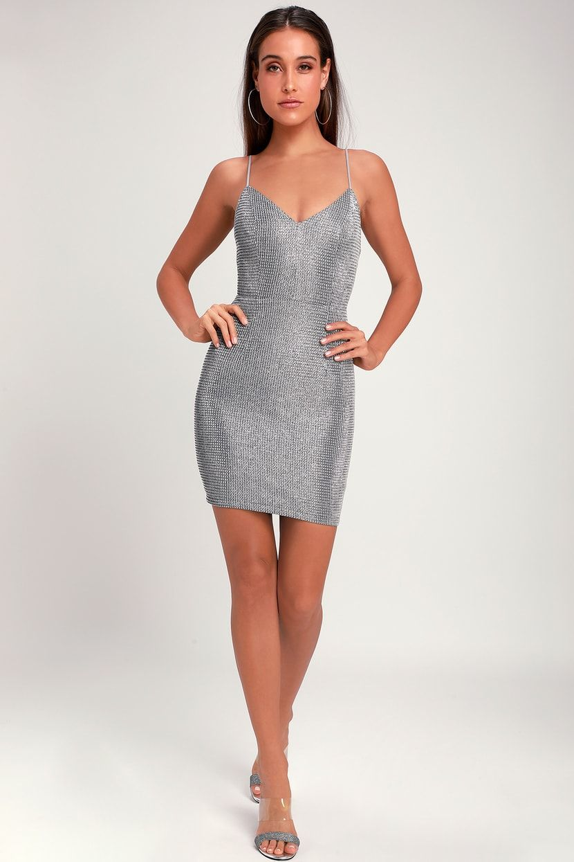 723944c0944c Spark in the Night Silver Sparkle Mini Dress in 2019