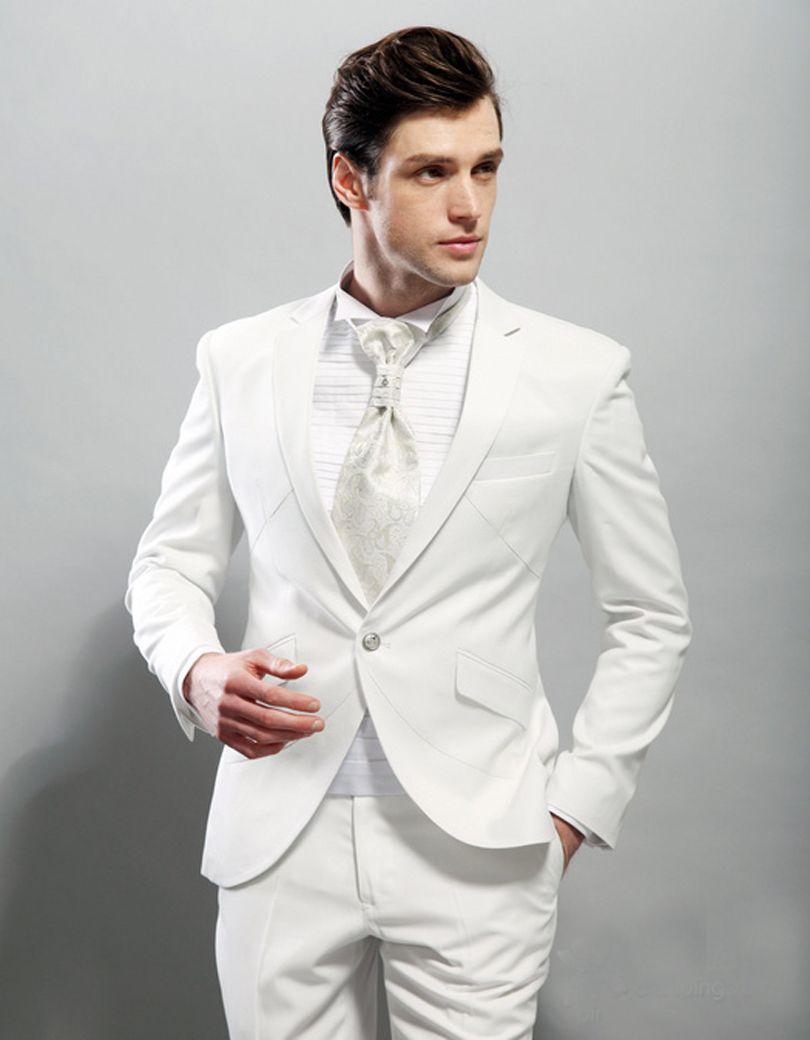 2017 Handsome Italian Style White Groom Tuxedos 2 Piece Best Man ...