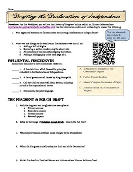 This Is A Fantastic Webquest Activity In Which Students Can Either Use A Qr Code Reader Or The Internet Qr Code Activities Declaration Of Independence Webquest