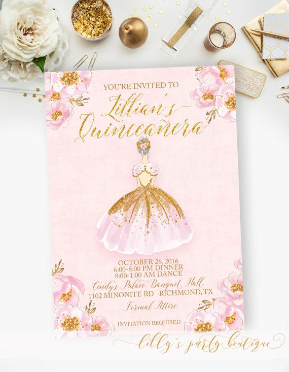 Quinceanera Sweet 15 Fifteen Birthday Pink And Gold Watercolor