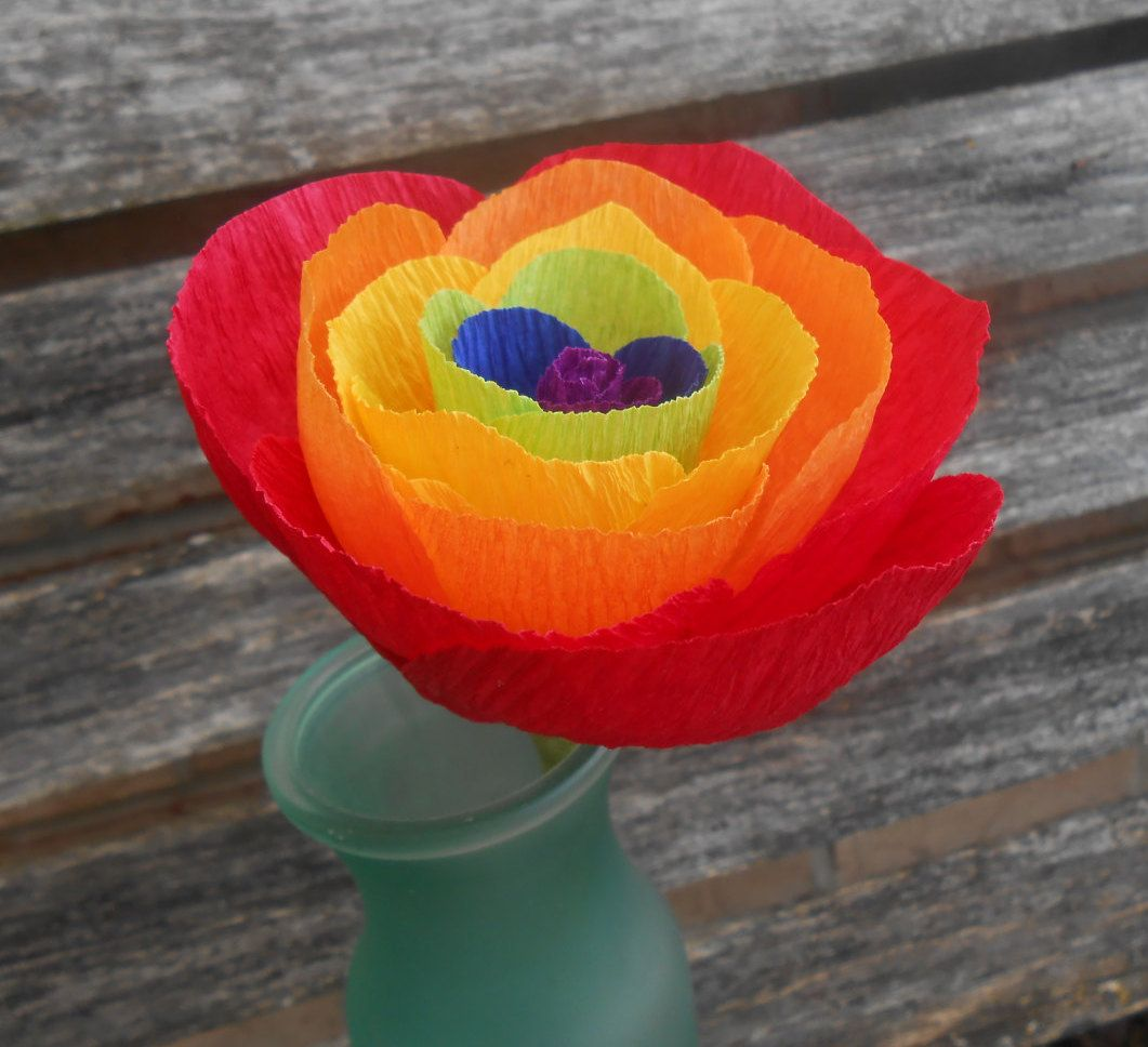 Rainbow Paper Rose. Red, Orange, Yellow, Green, Blue, Purple. Anniversary Gift, Wedding Favor, Birthday Gift.