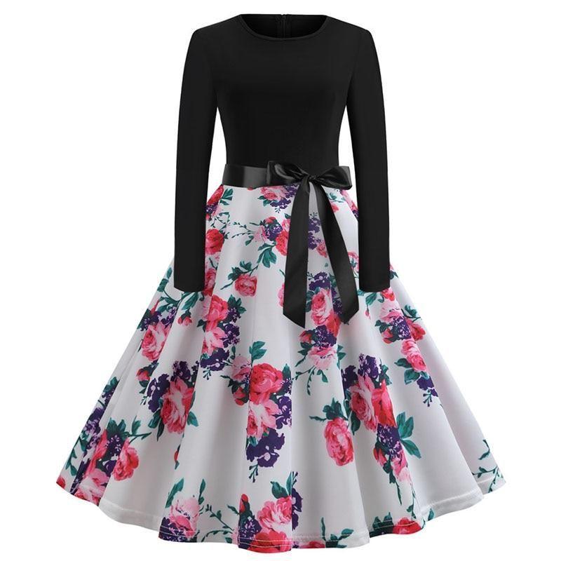 44ae88c968 Winter Christmas Dresses Women 50S 60S Vintage Robe Swing Pinup Elegant  Party Dress Long Sleeve Casual Plus Size Print Black 1