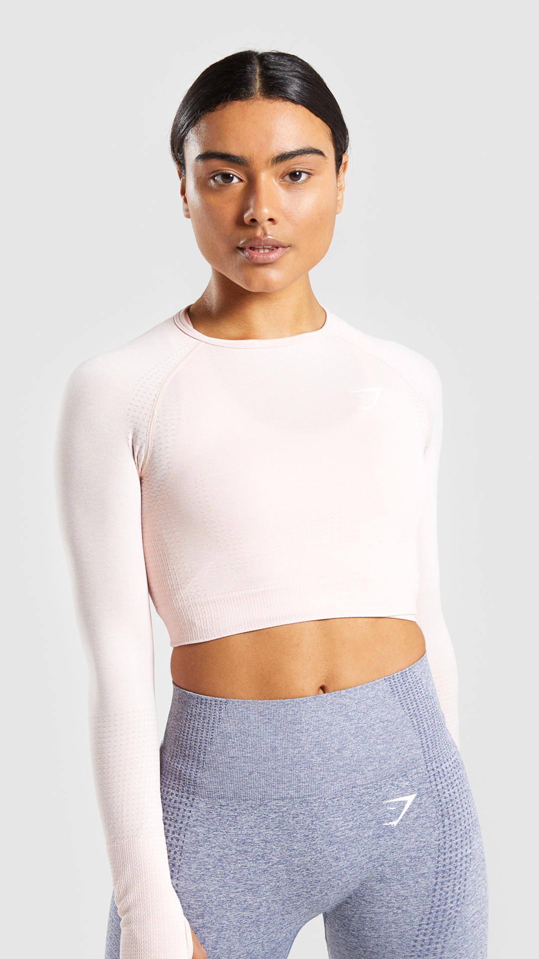67786e653a589 Vital Seamless Long Sleeve Crop Top, Blush Nude. Empowering through sweat.  Endeavour to perform in the Vital Seamless Long Sleeve Crop Top. #Gymshark # Gym ...