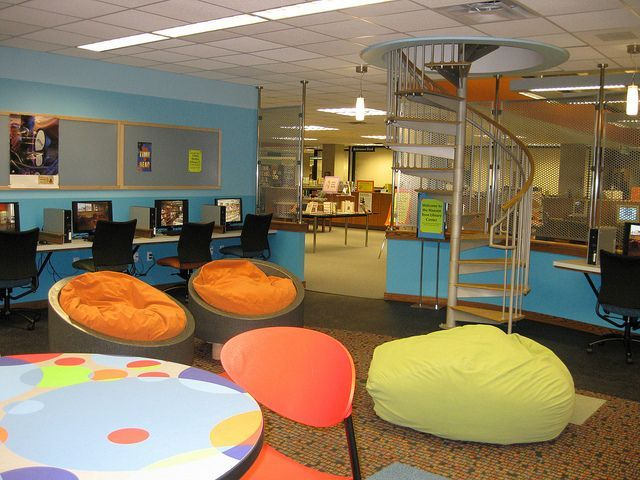 This Is A Cool Space I Love The Colors And The Bean Bag