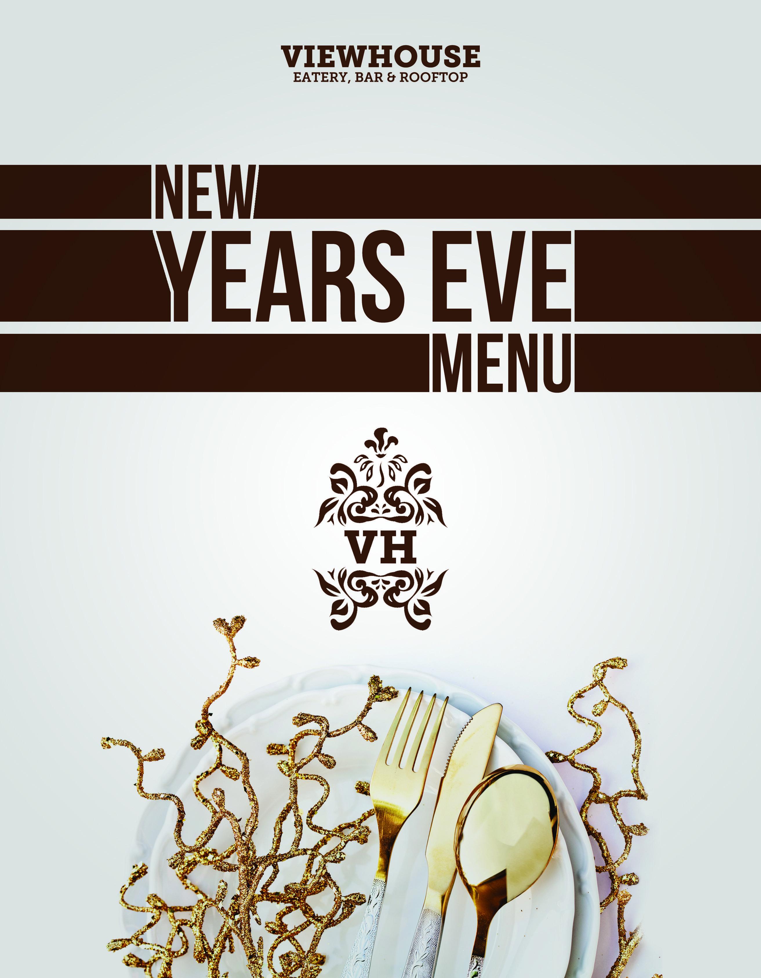 ViewHouse NYE Menu Denver Colorado Black & Gold Dinner ...