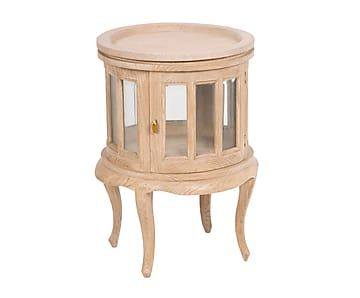 Mesa licorera de madera de roble macizo y cristal Rústico I