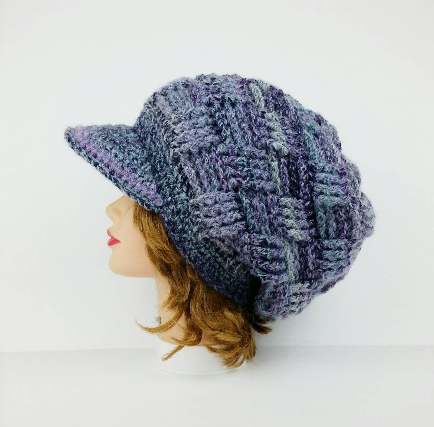 Slouchy Crochet Hat Newsboy Hat Women S Visor Beanie Etsy Crochet Newsboy Hat News Boy Hat Beanie Hats For Women