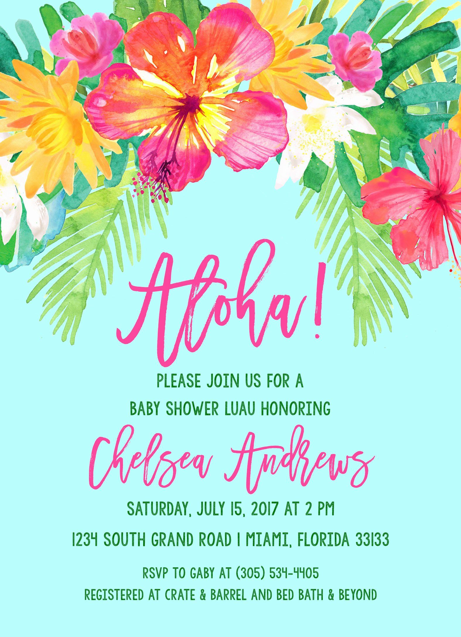 Lovely luau party invitation template tropical baby