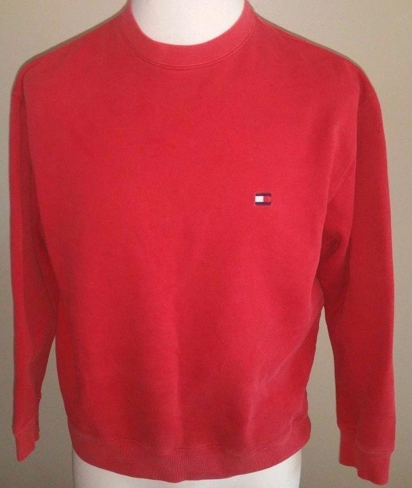 Men's Tommy Hilfiger Red Crewneck Sweatshirt Size Small  #TommyHilfiger #SweatshirtCrew
