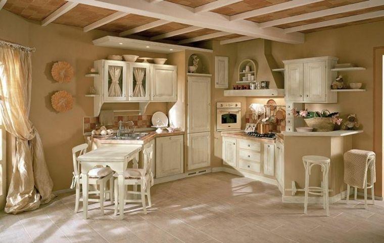 Esempio per piccole cucine in muratura con mobili tavolo sedie e