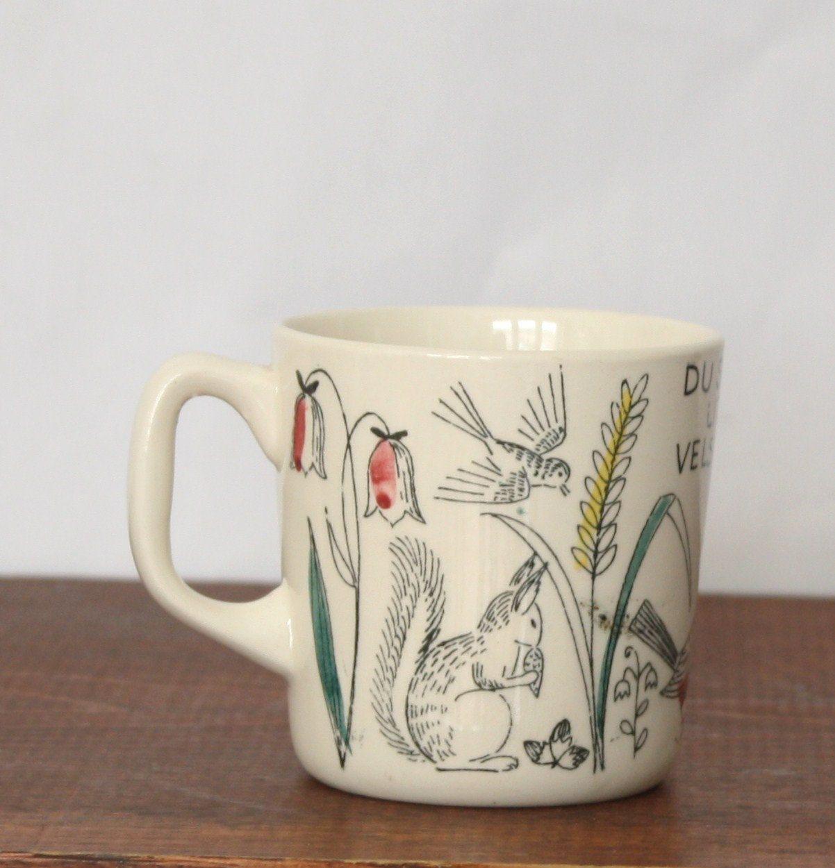 Vintage Stavangerflint Norwegian Cup With Birds Leaves