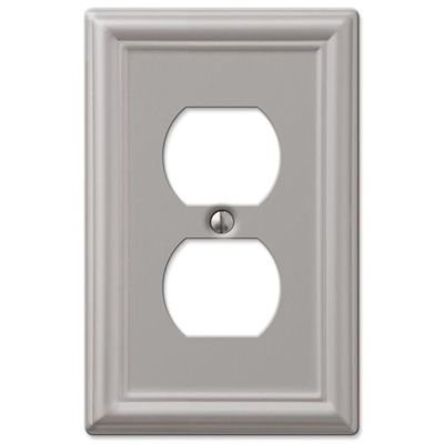 Amerelle Wall Plates Amerelle Wall Plate 149Dbn 1Gang Brushed Nickel Single Duplexft