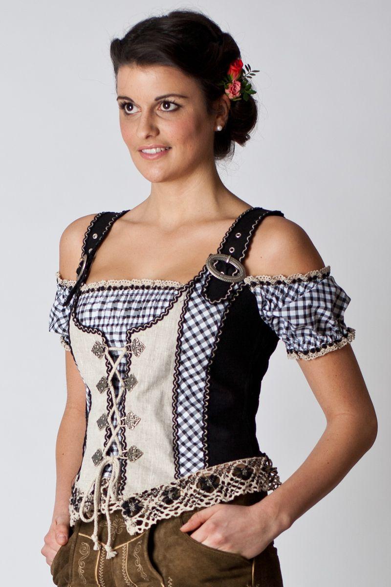 Trachten Bodice Ilse, black/beige