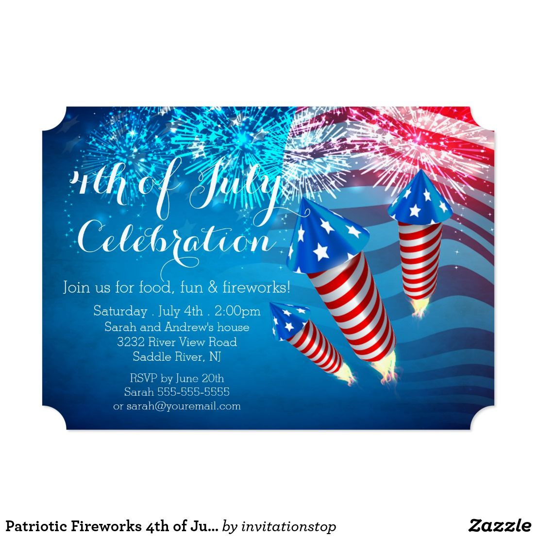 Patriotic Fireworks 4th of July Party Invitation | 4th of July ...