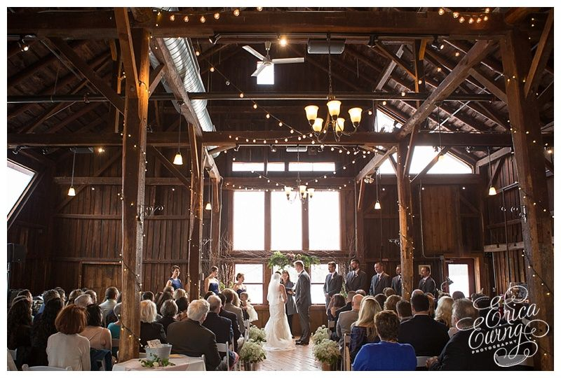 An Indoor Rustic Ceremony: Kara And Adam's Indoor Wedding Ceremony At Red Barn At