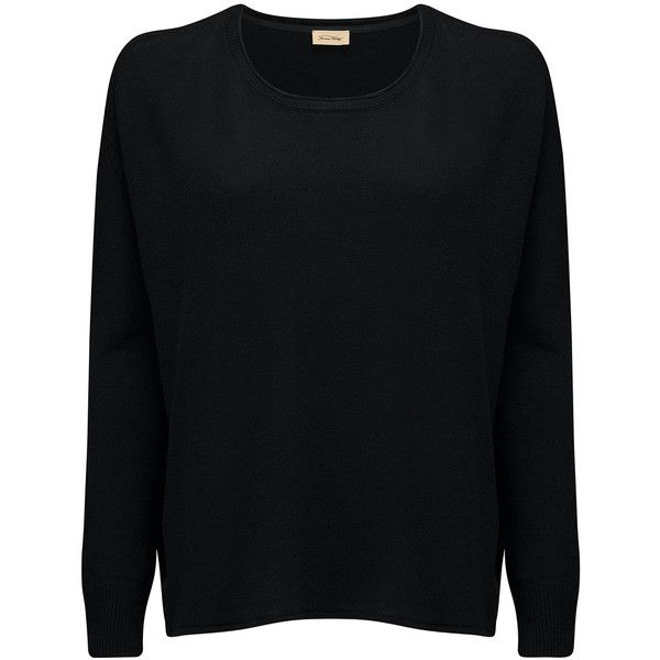 American Vintage Svansky Pullover - Black (350 BRL) ❤ liked on Polyvore featuring tops, sweaters, black, oversized pullover, boat neck tops, loose tops, boat neck sweater and loose fitting sweaters