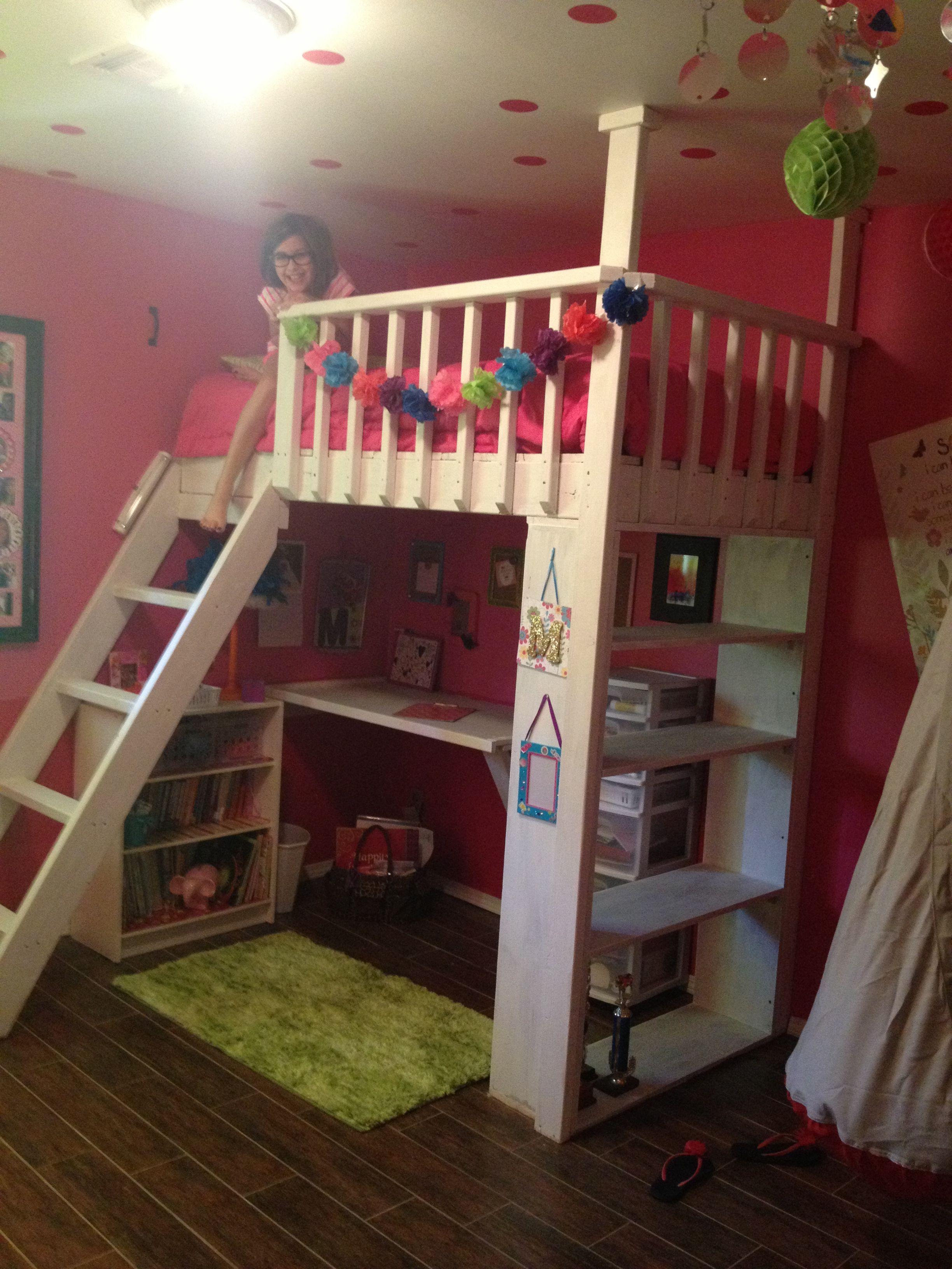 Girls loft bed. Girls loft bed, Awesome bedrooms, Little