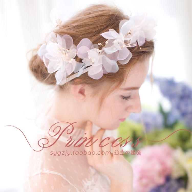 仙美簡約新娘花環發帶半透明花朵韓式甜美發飾攝影飾品結婚頭飾 Satin Flowers Pearl Headband Baby Girl Hair Accessories