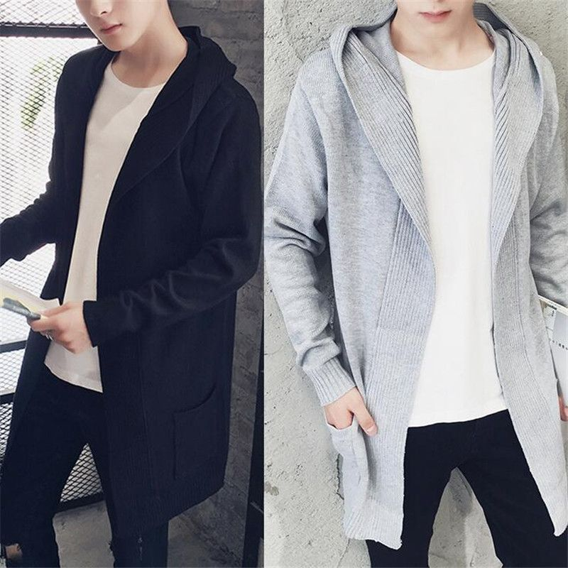 Harajuku Fashion Style Extend Long Cardigan Men Solid Black ...