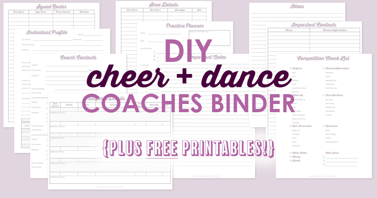 Cheer and Dance Coaching Binder with FREE Printable Planner sheets!DIY Cheer and Dance Coaching Binder with FREE Printable Planner sheets!