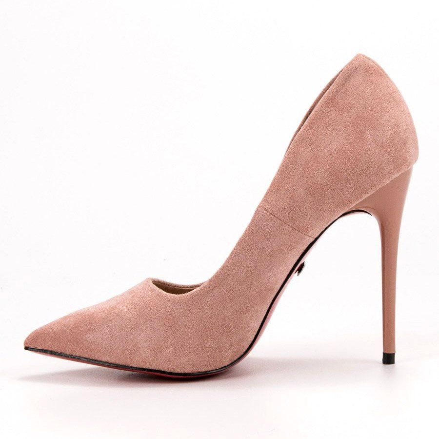 Czolenka Damskie Jumex Jumex Rozowe Zamszowe Szpilki Heels Stiletto Heels High Heel Shoes
