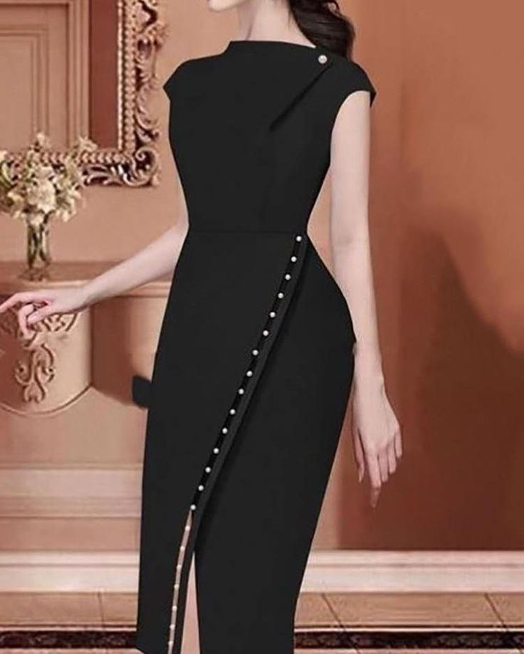 Photo of ivrose / Beading Embellished Slit Irregular Midi Dress