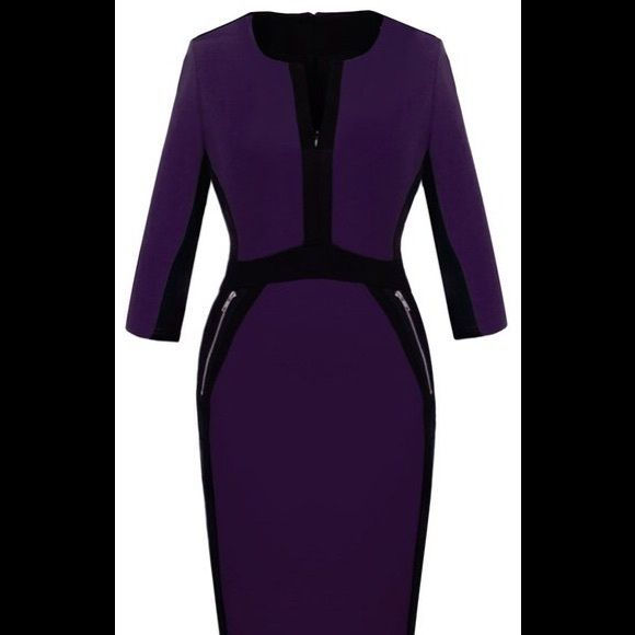 Knit color block dress. Purple and black form skimming knee length dress. Split neck with 3/4 sleeves. Color blocking defines waist and slims hips. Great for day or evening. Dresses