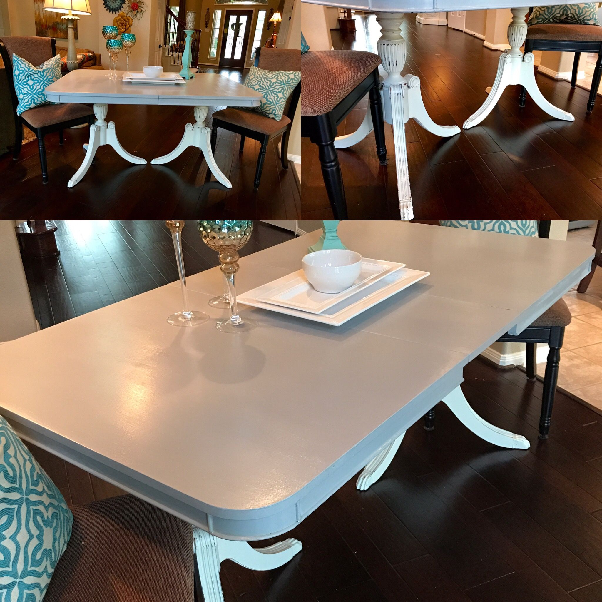 Duncan Phyfe Dining Table In Paris Grey On Top And Old