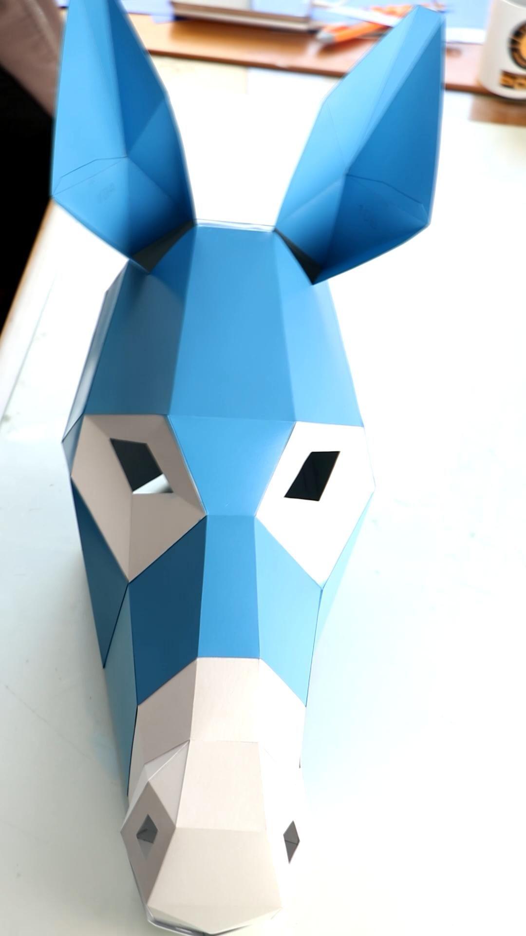 Photo of Donkey Mask DIY, Low Poly Mask, Paper Craft Mask, Pdf Template 3D Mask