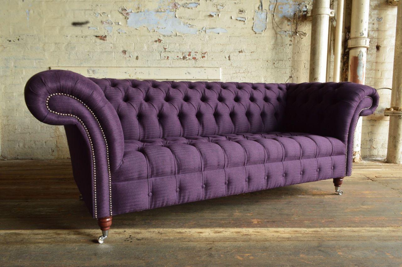 Handmade 3 Seater Aubergine Purple Wool