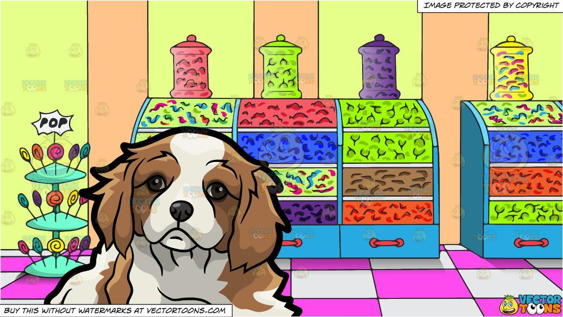 Clipart Cartoon A Pretty And Adorable Cavalier King Charles