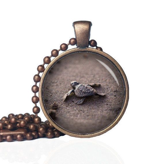 Turtle Pendant - Baby Sea Turtle - Sea Turtle Pendant - Baby Turtle - Beach Necklace - Ocean Pendant - Ocean Animals by KingFamilyCreations