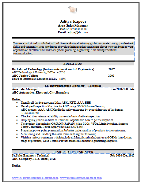 industrial sales engineer sample resume beautiful resume format for all sample template of sales executive - Instrumentation And Control Engineer Sample Resume