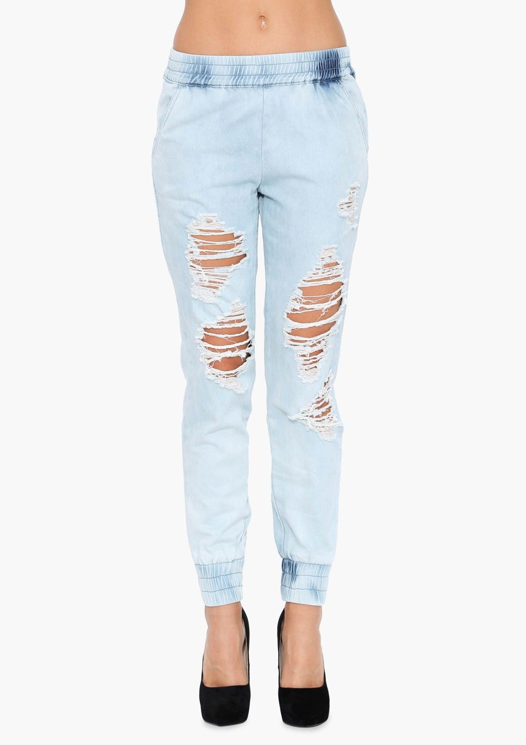 Colie Ripped Jogger Pants in Light blue | Necessary Clothing