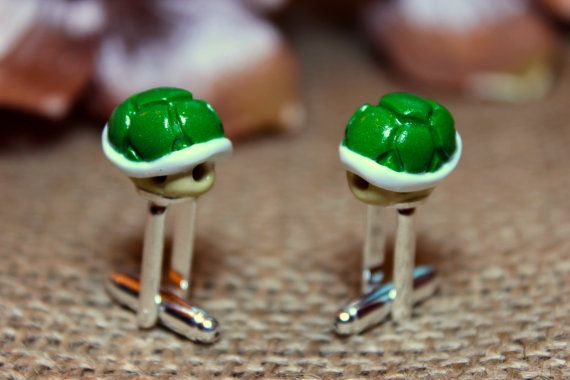 c8ccedb280b Super Mario Bros Koopa Troopa turtle shell Cufflinks Jewellery. on Etsy