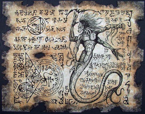 Cthulhu larp Naga Yig Necronomicon page Scroll Magick by zarono, $10.00