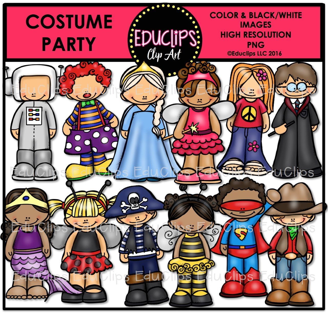 Costume Party Clip Art Bundle Color And B Amp W
