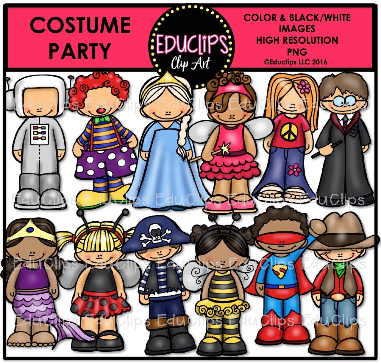 Costume Party Clip Art Bundle Color And B Amp W